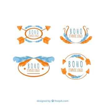 화살과 깃털이있는 boho 로고의 위대한 팩