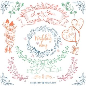 Great pack of four hand-drawn floral wedding frames
