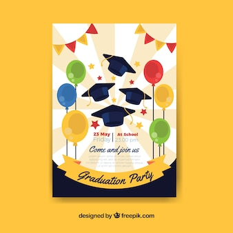 Great party poster with graduation caps and balloons