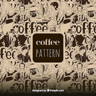 Great pattern of people drinking coffee