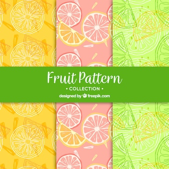 Great patterns of fruit slices in hand-drawn style