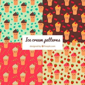 素晴らしいアイスクリームのキャラクターの素晴らしいパターン