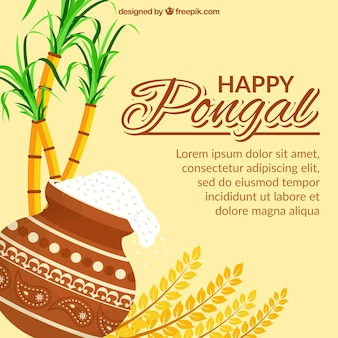 Great pongal background with sugarcane and rice in flat design