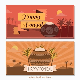 Great pongal banners with pots and rice