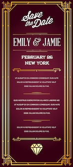 Great quality style invitation in art deco or nouveau epoch 1920's gangster era
