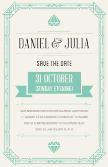 Great quality style invitation in art deco