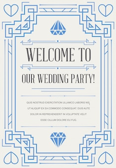 Great quality style invitation wedding in art deco or nouveau epoch 1920's gangster era vector