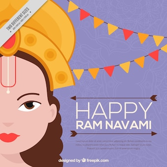 Great ram navami background in flat design