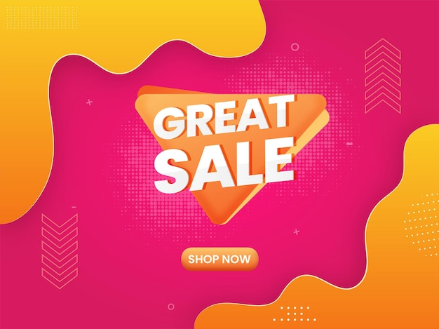 Great sale poster or banner design in yellow and pink color.