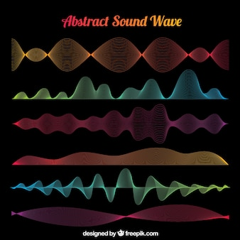Great selection of abstract sound waves with different colors