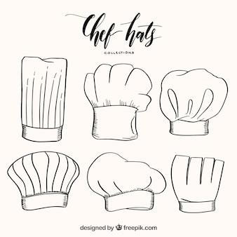 손으로 그린 스타일의 요리사 모자의 훌륭한 선택