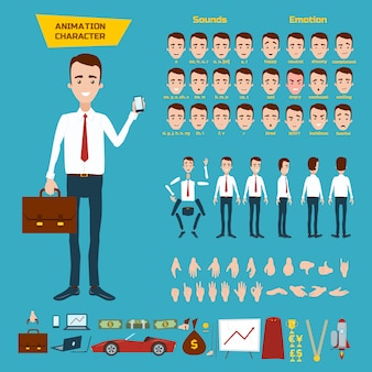 Great set for the animation of a businessman character on white