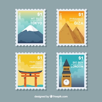 Great set of city stamps in flat design