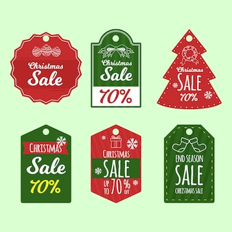 Great set of hand drawn holiday christmas tags