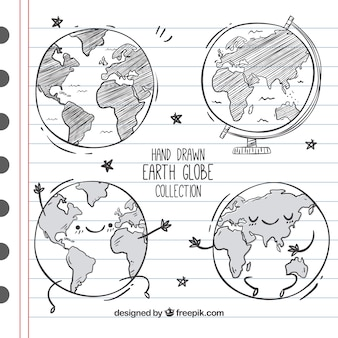 Great set of four hand-drawn earth globes