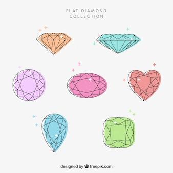 Большой набор из семи цветных драгоценных камней в плоском дизайне