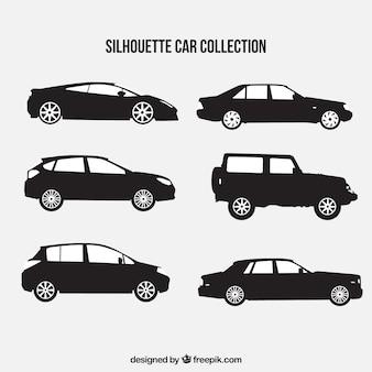 Grandi sagome di automobili con differenti disegni