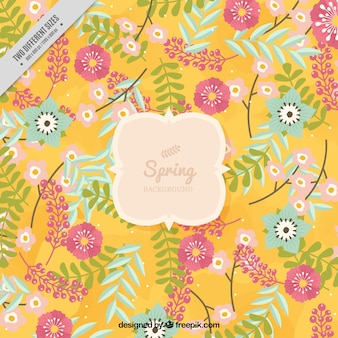 Большой весенний фон с различными цветами