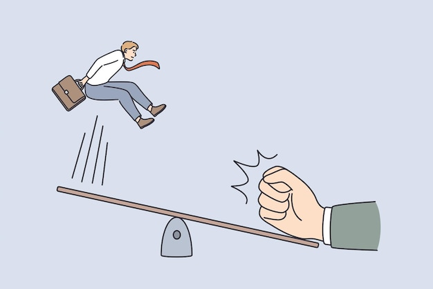 Great start and innovation concept. young smiling businessman jumping from swing with human hand making push from another side vector illustration