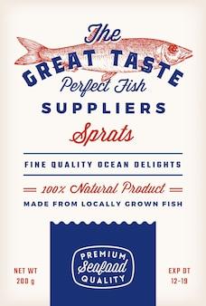 素晴らしい味の魚のサプライヤーは、ベクトルの素朴なパッケージラベルデザインのレトロなタイポグラフィと手dを抽象化します。