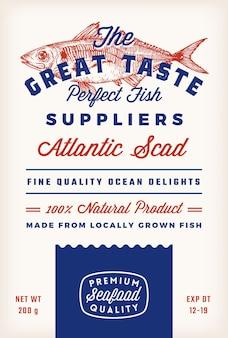 素晴らしい味の魚のサプライヤー抽象的なベクトル素朴なパッケージラベルデザインレトロなタイポグラフィと手d ...