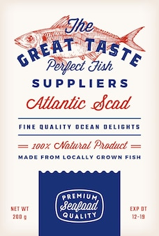 Great taste fish suppliers abstract vector rustic packaging label design retro typography and hand d...