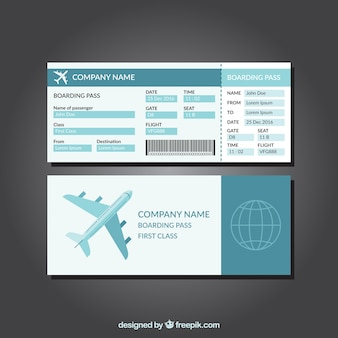 Great template of blue boarding pass