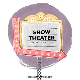 水彩画のスタイルで大劇場の看板