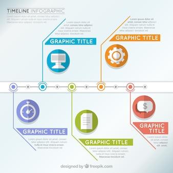 Grande linea temporale infografica con le icone e dettagli di colore