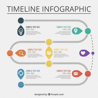 Grande linea temporale infografica con le icone bianche
