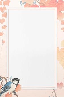 Большой узор синица с розовой рамкой