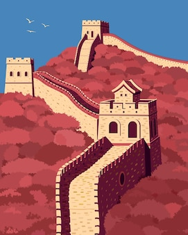 Great wall of china in 3 colors landmark of china vector illustration