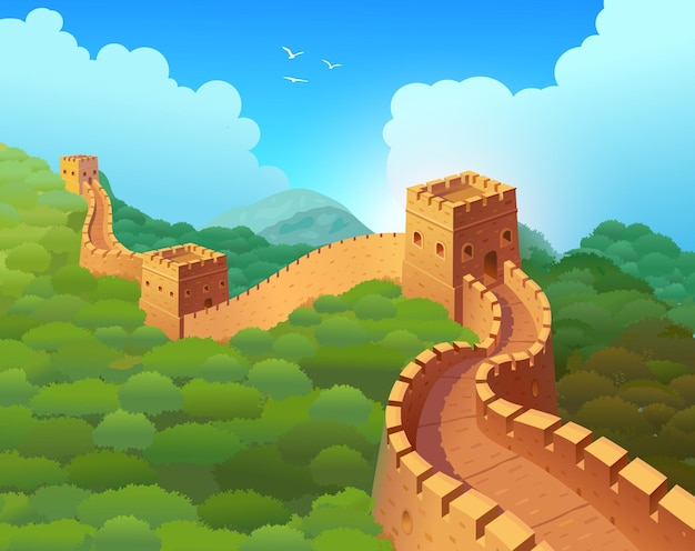 Great wall of china in a beautiful natural landscape