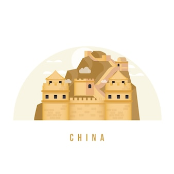 Great wall of china landmark flat illustration