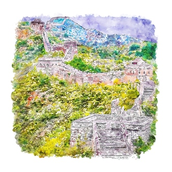 Great wall of china watercolor sketch hand drawn illustration