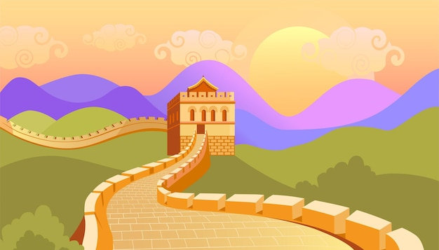 Great wall and colorful china landscape vector illustratio