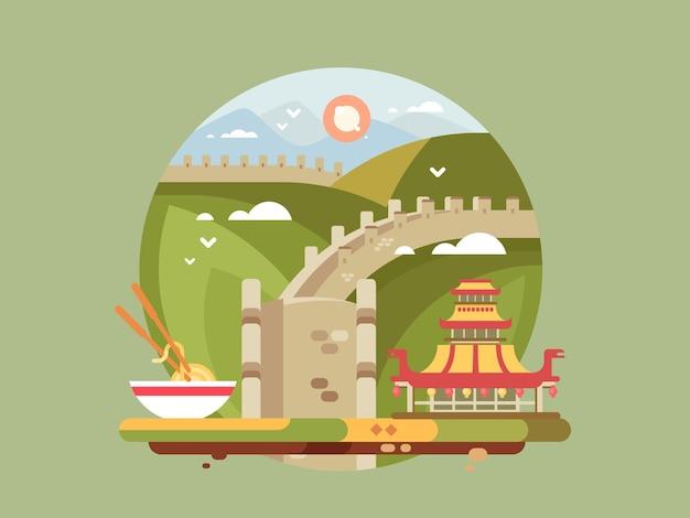 Великая китайская стена. знаменитая достопримечательность и китайская архитектура, векторные иллюстрации