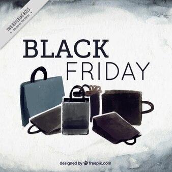 Grande sfondo acquerello con le borse della spesa per venerdì nero