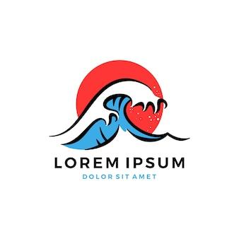 Great wave hokusai logo Premium Vector