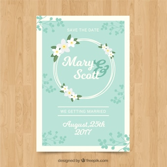 Great wedding invitation with floral wreath