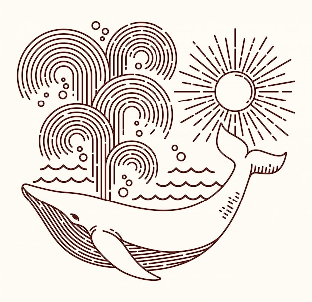 Great whale line illustration
