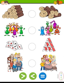 Greater less or equal cartoon puzzle game