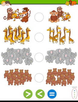 Greater less or equal educational task with animals