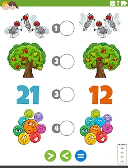 Greater less or equal task with for children