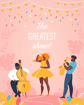 Greatest show vertical poster jazz band performing
