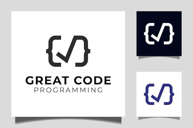 코딩 및 프로그래밍 로고 템플릿을 위한 확인, 정확하고 유효한 아이콘 벡터 기호가 있는 greats 코드 로고 디자인