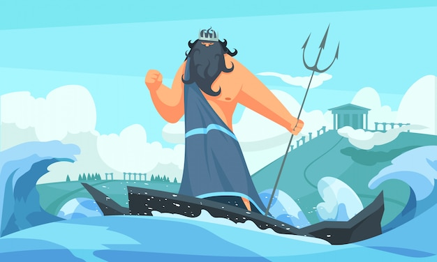 Greece ancient gods flat cartoon strip with poseidon among waves striking sea with his trident