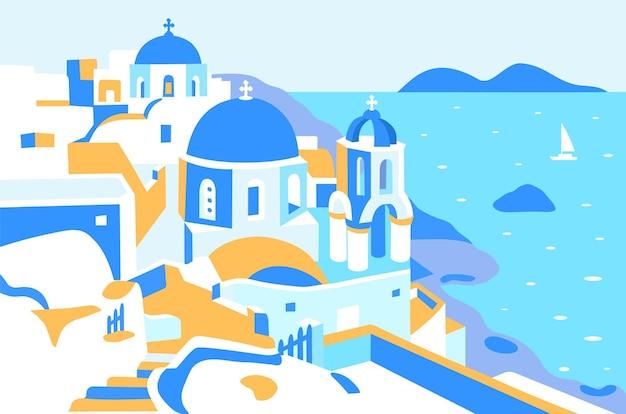 Греция и остров санторини красивая традиционная белая архитектура греции и море