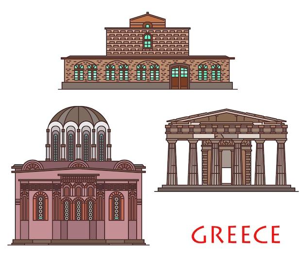 그리스 건축과 교회 또는 수도원 사원의 골동품 건물, 벡터 여행 랜드마크. 테살리아의 성 스테판 교회, 아테네의 테세온, 키오스의 네아 모니 수도원의 그리스 건축