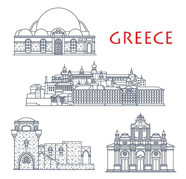 그리스 건축, 고대 그리스 건물 및 여행 랜드마크, 벡터 아이콘. 로도스 크레타 섬, 하산 파샤 모스크, 성 판텔레이몬 로시콘에 있는 필리모스와 아르카디 수도원의 그리스 건물